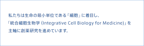 "At KAN Research Institute, we conduct research to discover novel therapeutic concepts and medicines using the unique approach of ""Integrative Cell Biology,"" which focuses on the most fundamental unit of life, the ""cell."""